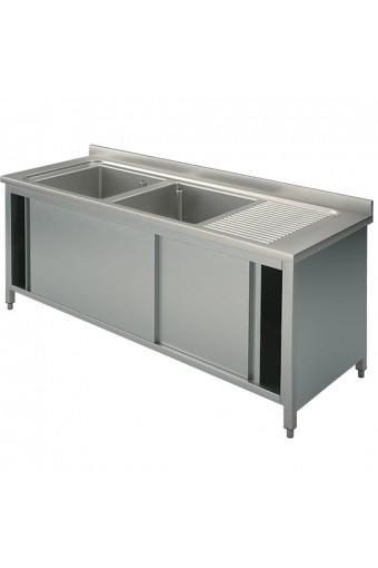 Lavatoio armadiato con porte scorrevoli, 2 vasche sinstra, 1400x600 mm.