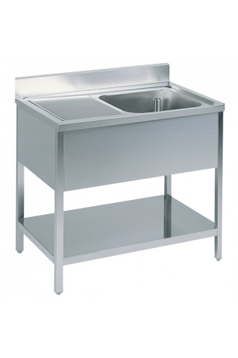 Tavolo da lavoro con vasca a destra con alzatina, con ripiano intermedio
