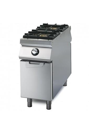 Cucina a gas su vano con porta, 2 fuochi, bacinelle in acciaio inox, comandi 2 lati