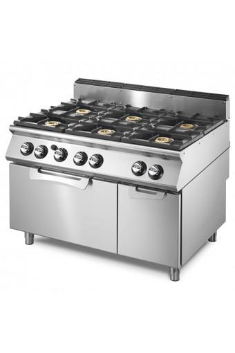 Cucina gas 6 fuochi su forno elet. statico e armadio neutro