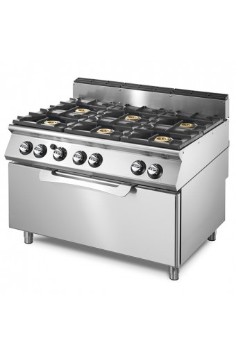 Cucina gas 6 fuochi su forno a gas statico maxi