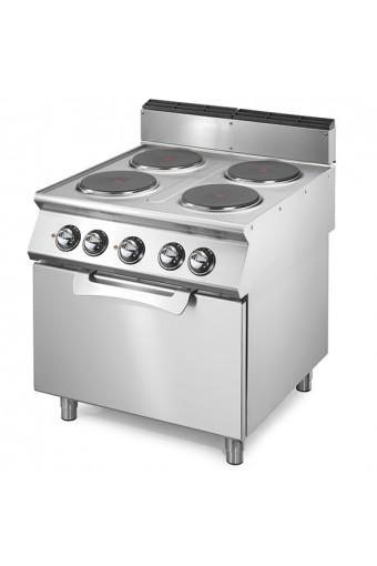 Cucina elettrica 4 piastre tonde con forno elet. statico