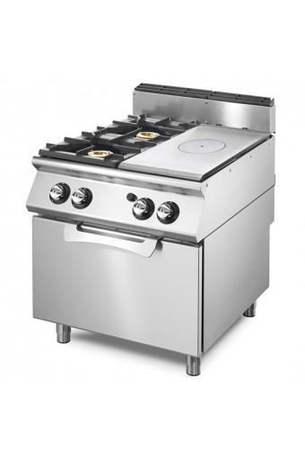 Cucina tutta piastra gas con 2 fuochi su forno gas statico