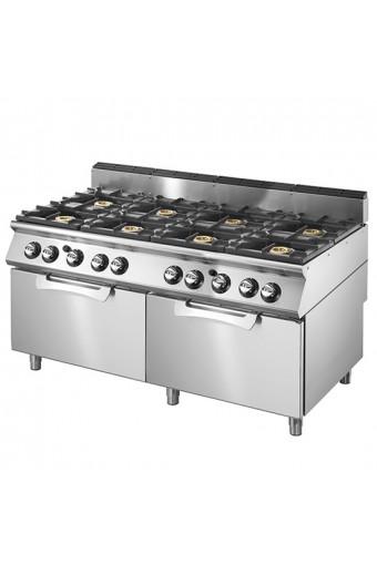 Cucina a gas su 2 forni elettrici statici gn 2/1, 8 bruciatori