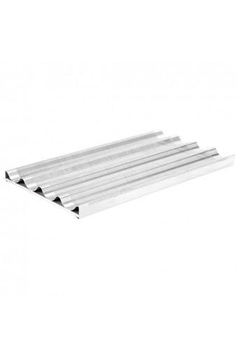 Teglia in alluminio perforata con 4 canaline e supporto, gn 1/1