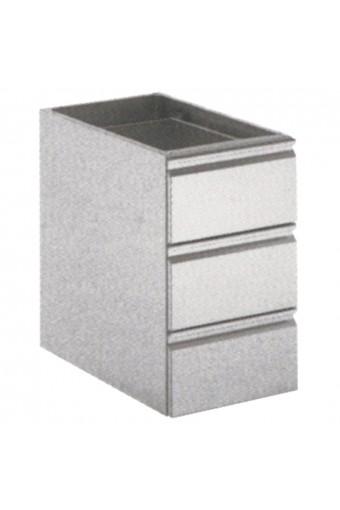 Cassettiera gastronorm 3 cassetti GN 1/1 per tavoli profondita 600mm