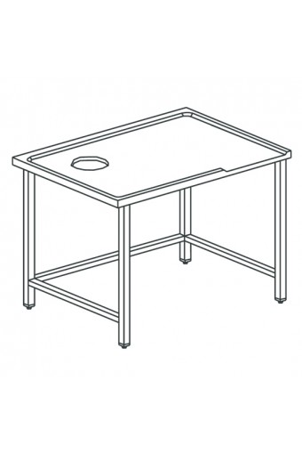 Tavolo di cernita sinistro con foro, per macchine con uscita a destra, larghezza=1600 mm