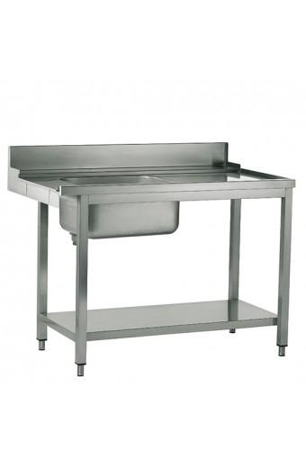 Tavolo ingresso sinistro con vasca a destra per lavastoviglie a capot, larghezza=1500 mm