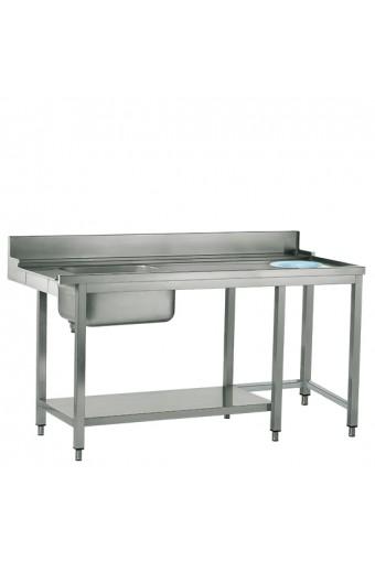 Tavolo ingresso sinistro con vasca a destra e foro rifiuti, larghezza=1500 mm