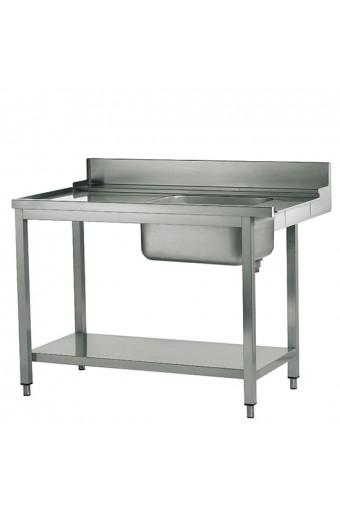 Tavolo ingresso destro con vasca a sinistra per lavastoviglie a capot, larghezza=1500 mm