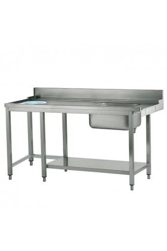 Tavolo ingresso destro con vasca a sinistra e foro rifiuti, larghezza=1500 mm