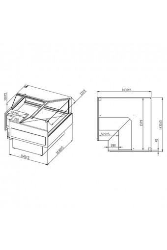 Banco carne refrigerato ventilato ad angolo aperto con vetro retto, 0°/+4°C