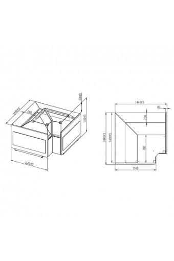 Banco carne refrigerato ventilato ad angolo chiuso con vetro retto, 0°/+4°C